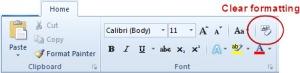 Clear formatting in Word