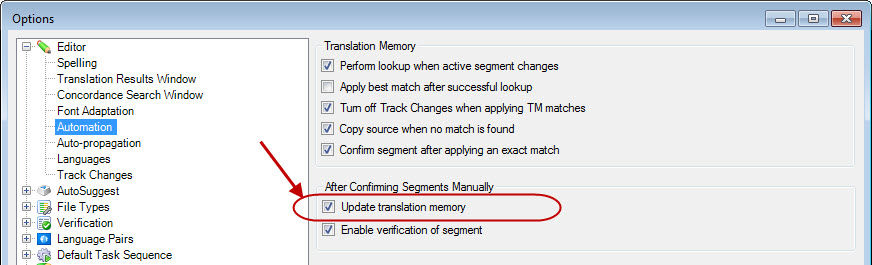 SDL Trados Studio TM isn't updating! My translation memory is empty! (4/5)