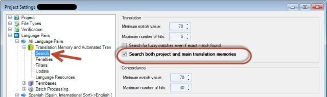 search project and main TMs