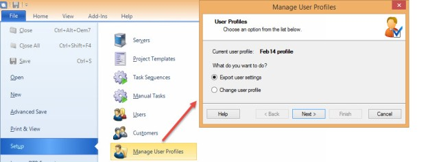 Export user profile