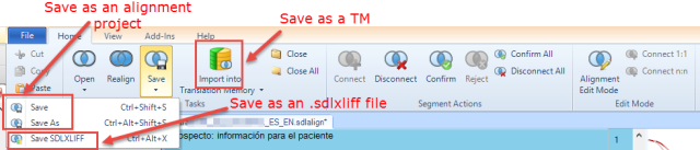 Alignment ribbon in SDL Trados Studio 2014 SP1