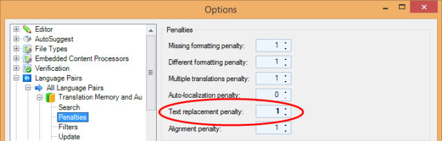 Text replacement penalty