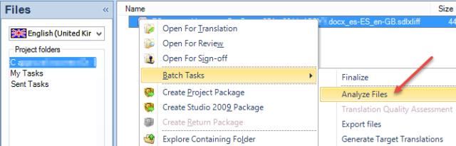 "Analyse a file opened using ""Translate a single document"""
