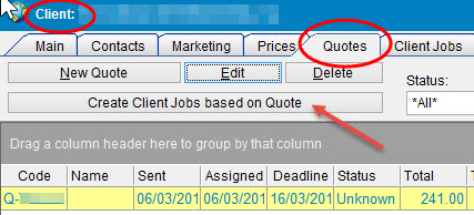 Create job from quote